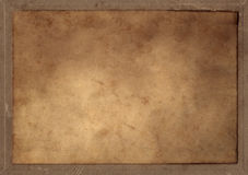 Old Parchment Rectangle Blanked. A old parchment rectangle pasted on a cardboard.  A clipping path is provided for the rectangle Royalty Free Stock Photos