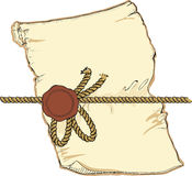 Old parchment with seal frame template. stock illustration