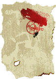 Old parchment with stamp, blood, and fingerprint. Royalty Free Stock Photo