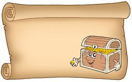 Old parchment with treasure chest royalty free illustration