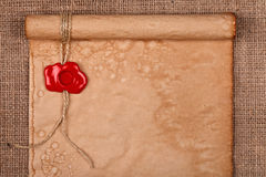 Old parchment and wax seal Stock Photography