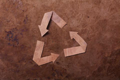 Old parer background with recycle sign Royalty Free Stock Image