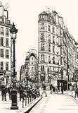 Old Paris near Saint Denis. Vector illustration of old Paris near Saint Denis