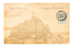 Old Paris postcard. Old postcard with Abbey of Mont Saint Michel, Paris, France Royalty Free Stock Photography
