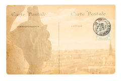 Old Paris postcard. Old postcard with Gargoyle of  Notre Dam de Pari cathedral, Paris, France Royalty Free Stock Photos