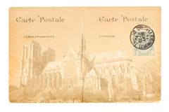 Old Paris postcard. Old postcard with Notre Dam de Pari cathedral, Paris, France Royalty Free Stock Image