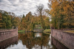 Old park in autumn. The old castle park in autumn colors Stock Image