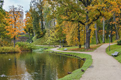 Old park in autumn. Photo was taken in ancient city of Cesis, Latvia Royalty Free Stock Photography