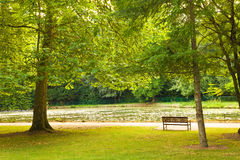 Old Park Bench Against A Big Pond Royalty Free Stock Photography