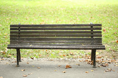 Old park bench on footpath near green grass in autumn Royalty Free Stock Photography