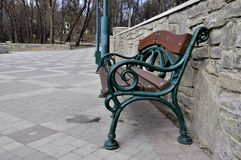 Old park bench royalty free stock photos