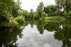 Old park with ponds. Stock Photo