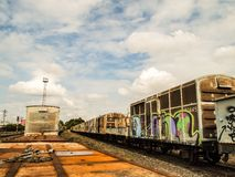 Old Parking trains station and cargo van Royalty Free Stock Images