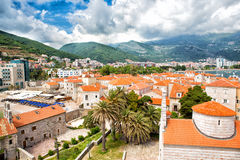Old part of Budva town. Aerial view Royalty Free Stock Photos