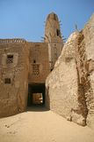 Old part (citadel) of desert town Mut in Dakhla oazis in Egypt, people still live here Royalty Free Stock Image