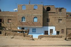Old part (citadel) of desert town Mut in Dakhla oazis in Egypt, people still live here Stock Photography