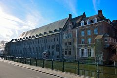 Old part of the famous Medieval city Ghent Royalty Free Stock Images