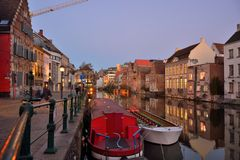 Old part of the famous Medieval city Ghent Royalty Free Stock Photography