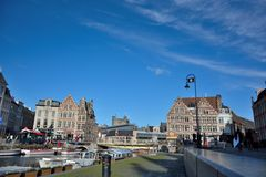 Old part of the famous Medieval city Ghent Stock Image