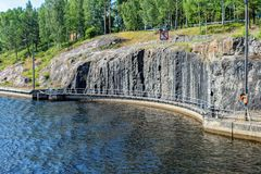 The old part of the gateway on the Saimaa canal. Finland. Remains of the old gateway in the old section of the Saimaa Canal on a summer day. Finland royalty free stock photography