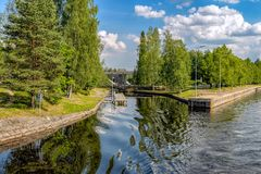 The old part of the gateway on the Saimaa canal. Finland. Remains of the old gateway in the old section of the Saimaa Canal on a summer day. Finland royalty free stock image