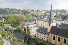 Old part of Luxembourg in spring time. Old part of Luxembourg during spring time with trees reflecting in water Stock Images
