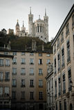 Old part of Lyon. The old part of Lyon with view at Notre-Dame de Fourviere royalty free stock photos