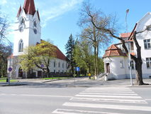 Old part of Silute town, Lithuania stock photo