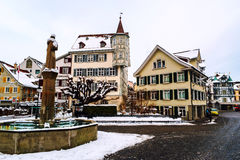Old part of St Gallen, Switzerland during the snowy winter Stock Photos