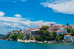 The old part of town in island Skiathos Royalty Free Stock Images
