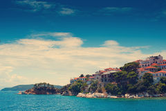 The old part of town in island Skiathos Royalty Free Stock Image