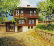 Old part of town Kotel. An oil painting on canvas of an old historical house in the small rural town Kotel, Bulgaria at the begining of the autumn Stock Image