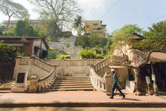 Old part of town stone stairs and walking people Royalty Free Stock Image