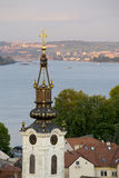 Old part of Zemun,Serbia with Saint Nicholas church. And Danube river in the back stock images
