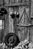 Old Parts on Barn. Old car and farm parts hanging on barn side Royalty Free Stock Photos