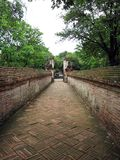 Old Passage. Long view of ancient passageway in Ayutthaya in Thailand Stock Photography