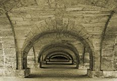 Old passage. Passage under a decorative bridge in a town of Pushkin, near Saint-Petersburg Royalty Free Stock Image
