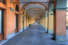 Old passage in Alba, Italy. Stock Image