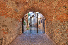 Old passage. La Morra, Northern Italy. Royalty Free Stock Image