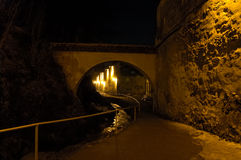 Old passage in Transylvania. Passage in a fortress in Transylvania, at night Royalty Free Stock Photography