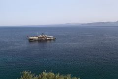 An old passenger ship. In aegean royalty free stock photography