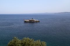 An old passenger ship. In aegean stock photography