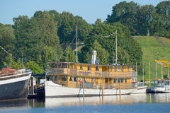 The old passenger steamer in the harbor of lake Saimaa. Lappeenranta, Finland Stock Photography