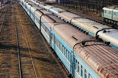 Old Passenger Train Cars on station. Old dirty Passenger Train Cars on station Stock Image