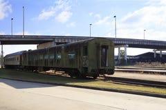 Old Passenger Train Cars Union Station Meridian Mississippi. Old Passenger Train Cars located at Union Station Meridian Mississippi Stock Photos