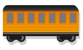 Old passenger wagon icon, cartoon style vector illustration