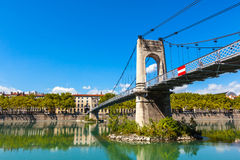 Old Passerelle du College bridge over Rhone river in Lyon, Franc Royalty Free Stock Photo