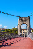 Old Passerelle du College bridge over Rhone river in Lyon, France Royalty Free Stock Photos