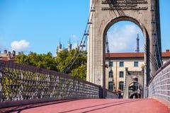 Old Passerelle du Universiteitsbrug over de rivier van de Rhône in Lyon, Frankrijk Stock Fotografie