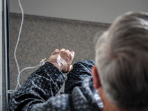 Old patient man with a catheter in the hospital Royalty Free Stock Photos